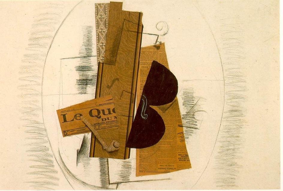 Коллаж. Жорж Брак. Скрипка и трубка, 1913