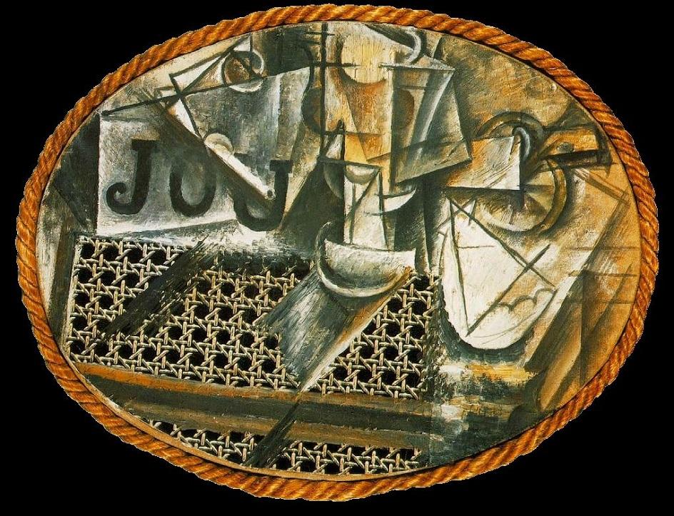 Коллаж. Пабло Пикассо. Натюрморт с плетеным стулом, 1912