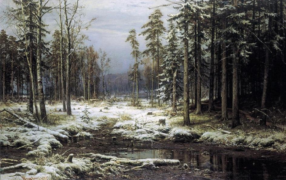 """Иван Шишкин. """"Первый снег"""", 1875"""