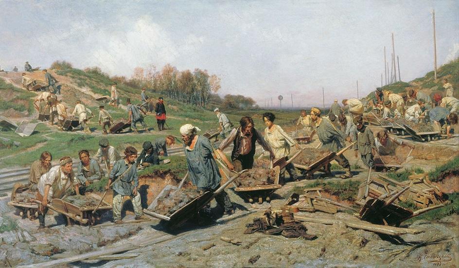 Реализм. Константин Савицкий. Ремонт железной дороги , 1874