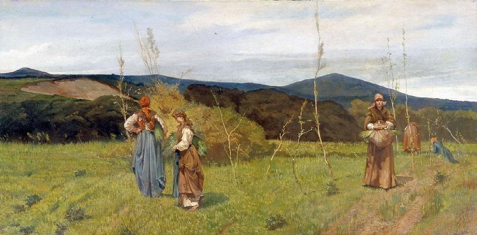Реализм. Джованни Фаттори. Три крестьянина в поле, 1866–1867