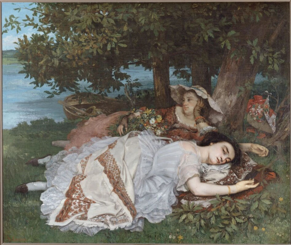 Реализм. Гюстав Курбе. Девушки на берегу Сены (Лето), 1857