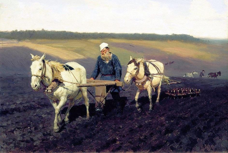 Реализм. Илья Репин. Пахарь. Лев Толстой на пашне, 1887