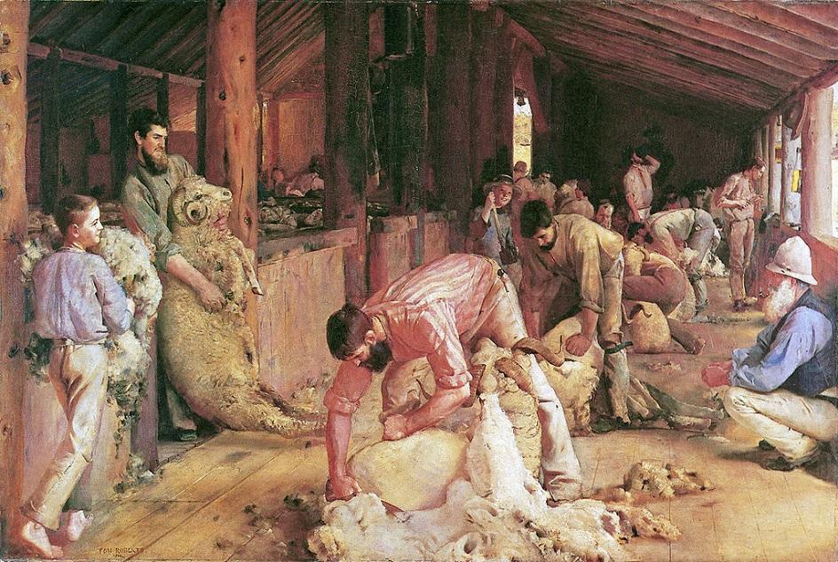 Реализм. Том Робертс. Стрижка овец, 1890