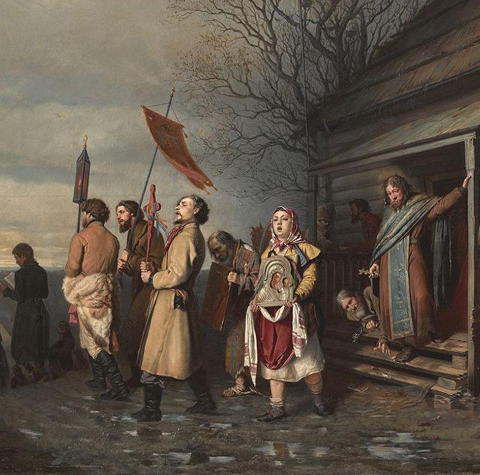 Передвижники. Василий Перов. Сельский крестный ход на Пасхе, 1861