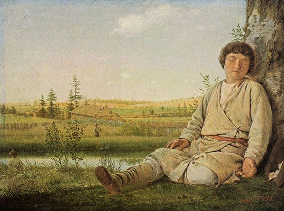 Передвижники. Алексей Венецианов. Спящий пастушок, 1823-1826