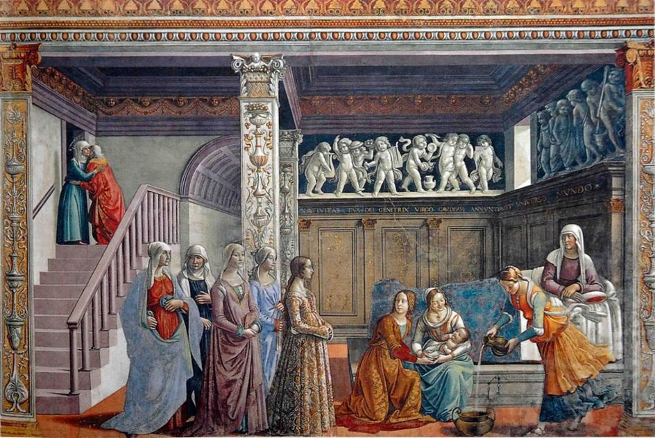 Живопись. Доменико Гирландайо. Рождение Богородицы (фрагмент фрески в капелле), 1486-1490