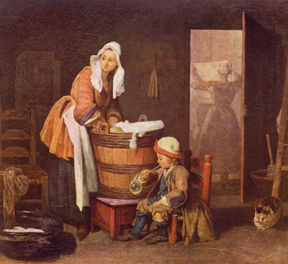 История живописи. Жан-Батист Симеон. Прачка. ок. 1735