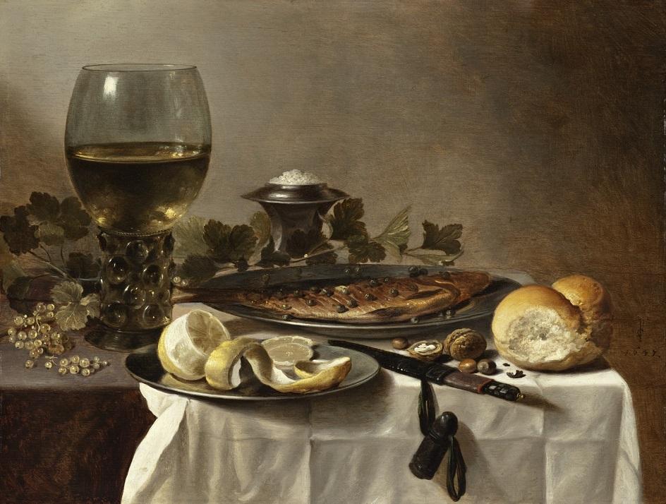 """Натюрморт. Питер Клас. """"Натюрморт с рыбой вином и хлебом"""""""