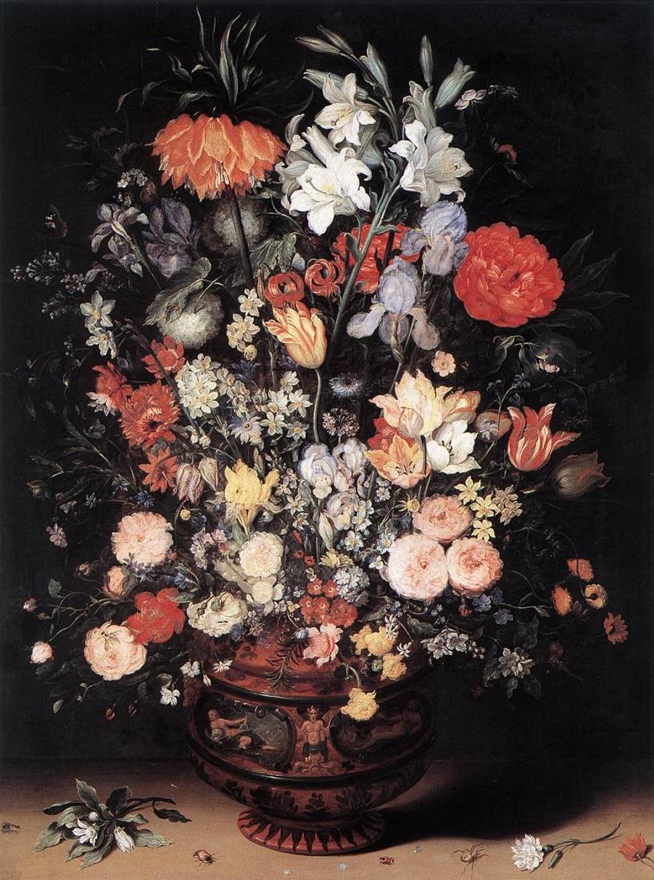"""Натюрморт. Ян Брейгель Старший. """"Цветы в деревянном сосуде"""""""