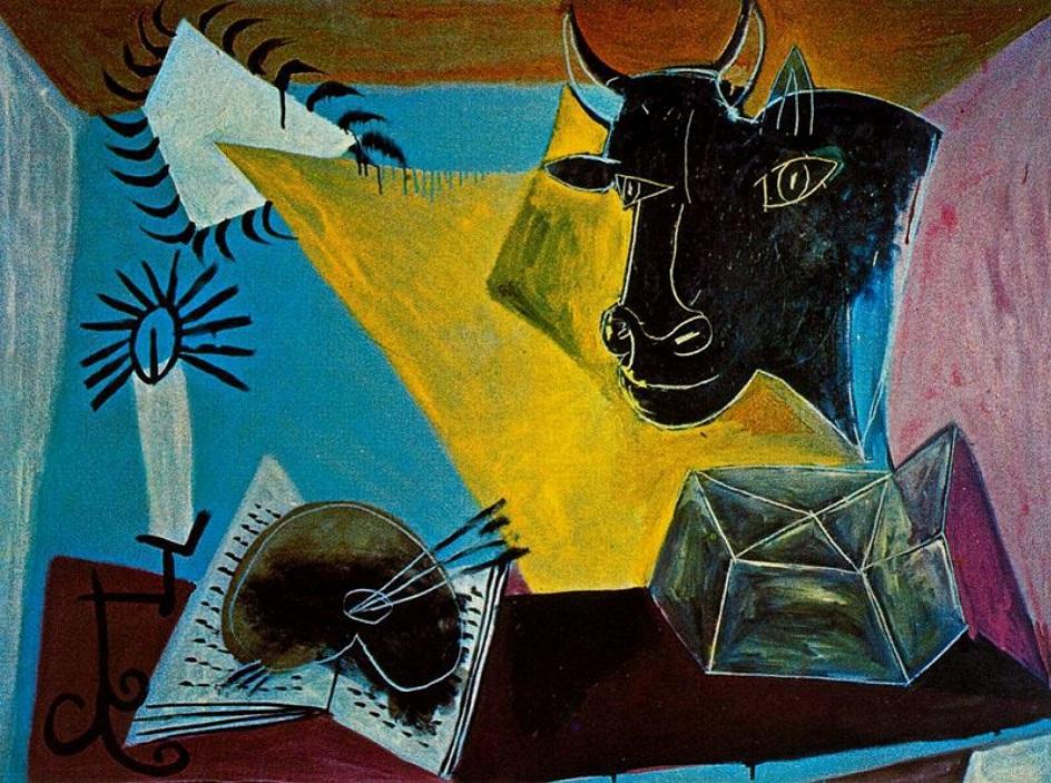 """Натюрморт. Пабло Пикассо. """"Натюрморт с головой черного быка"""""""