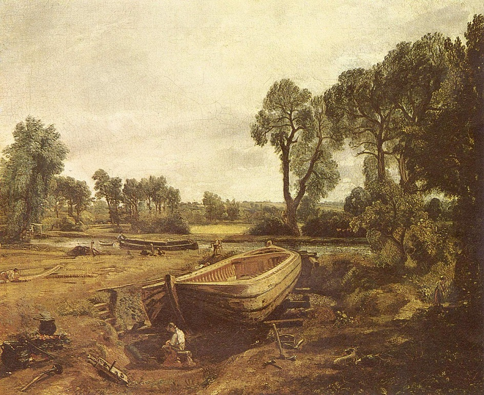 Пленэр. Джон Констебль. Строительство лодки возле мельницы Флэтфорд. 1815