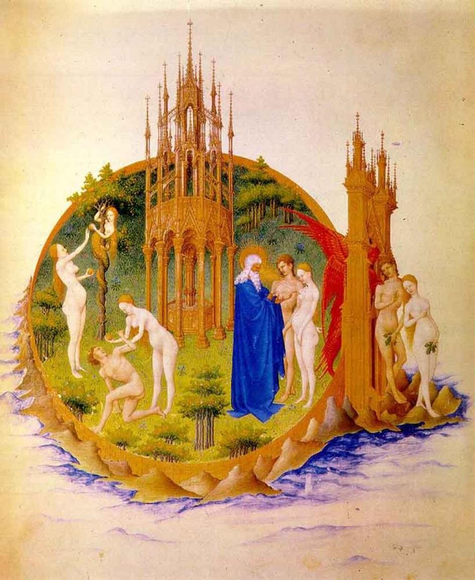Ню, интернациональная готика. Братья Лимбург. «Грехопадение Адама и Евы»
