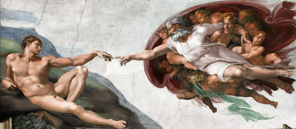 Мужское ню. Микеланджело Буонарроти. «Сотворение Адама» (фреска в «Сикстинской капелле»