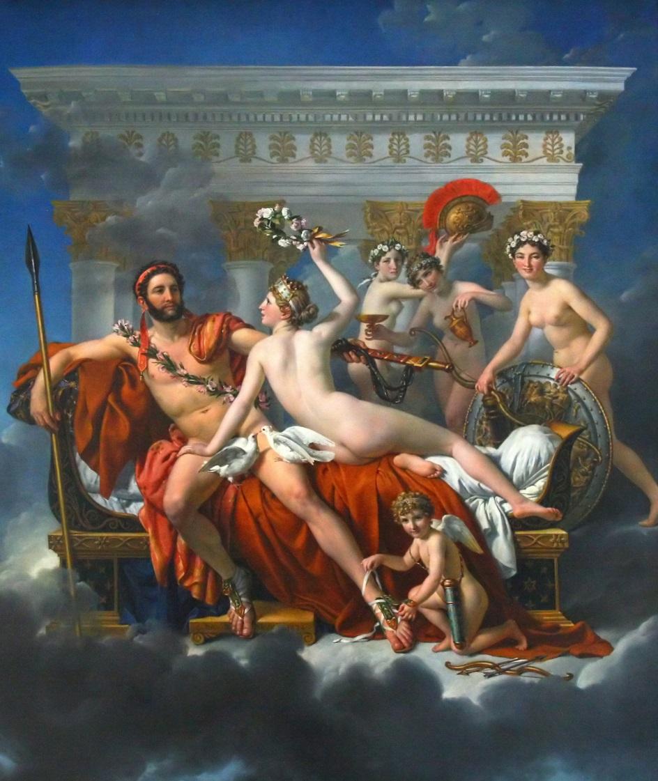 Ню, неокласицизм. Жак-Луи Давид. «Венера и Грации обманывают Марса»