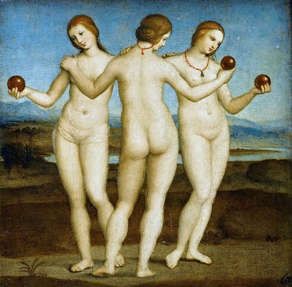 Ню в живописи. Рафаэль. Три грации, 1504 - музей Конде, Шантильи