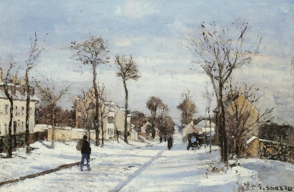 Камиль Писсарро. «Улица в снегу, Лувесьенн», 1872