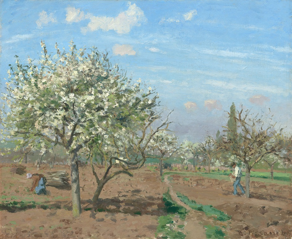 Камиль Писсарро. «Цветущий сад, Лувесьенн», 1872