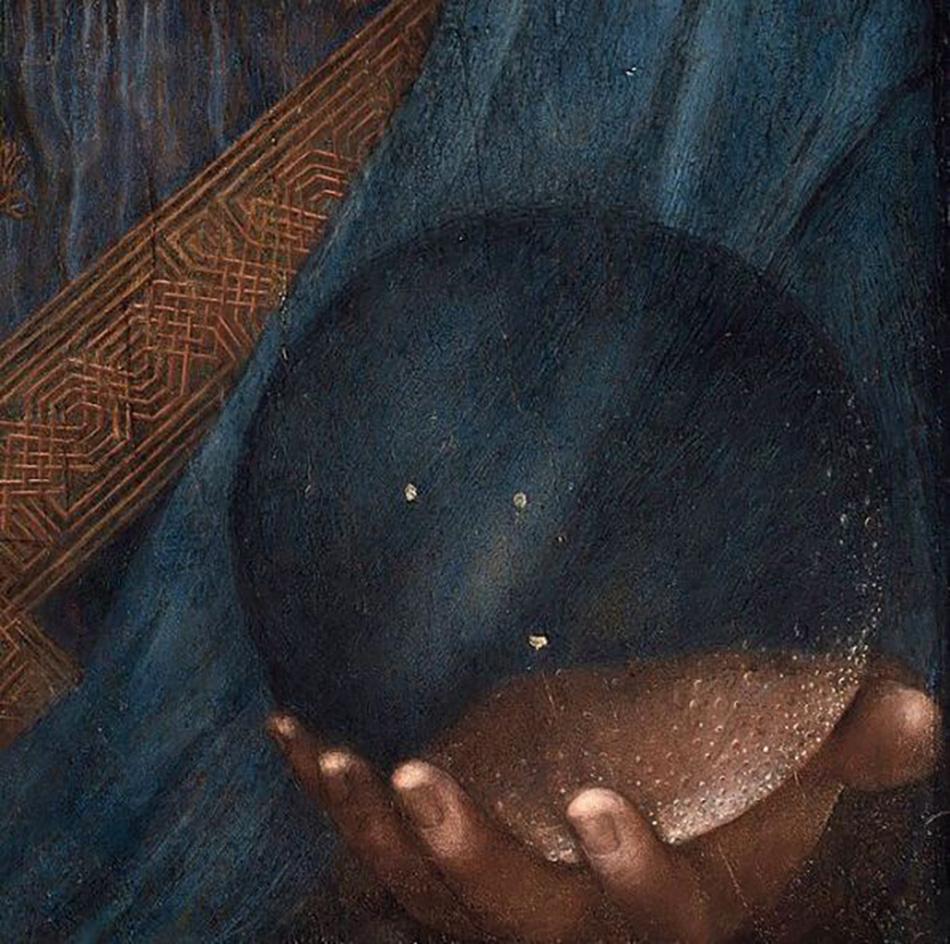 Леонардо да Винчи. Деталь «Спасителя мира» (стеклянный шар). Около 1500 г. Лувр в Абу-Даби
