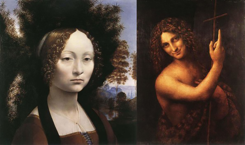 Слева: Портрет Джиневры Бенчи. 1476 г. Национальная галерея Вашингтона.  Справа: Святой Иоанн Креститель. 1513-1516 гг. Лувр, Париж