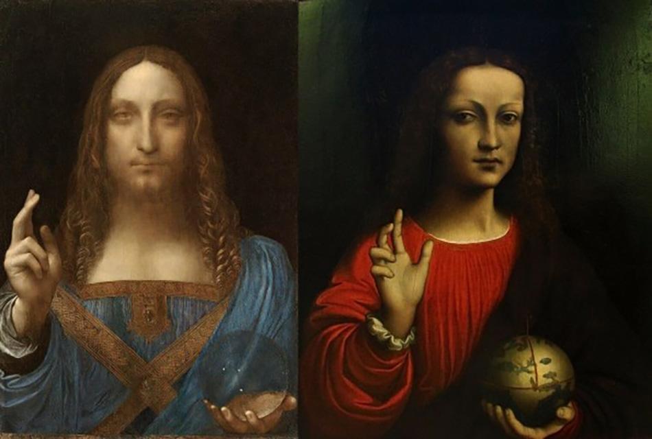 Справа: фрагмент картины «Мадонна в скалах». 1499-1508 гг. Национальная Лондонская галерея.